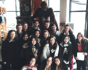 Carolyn (far left), her students, and Bigfoot (far back)