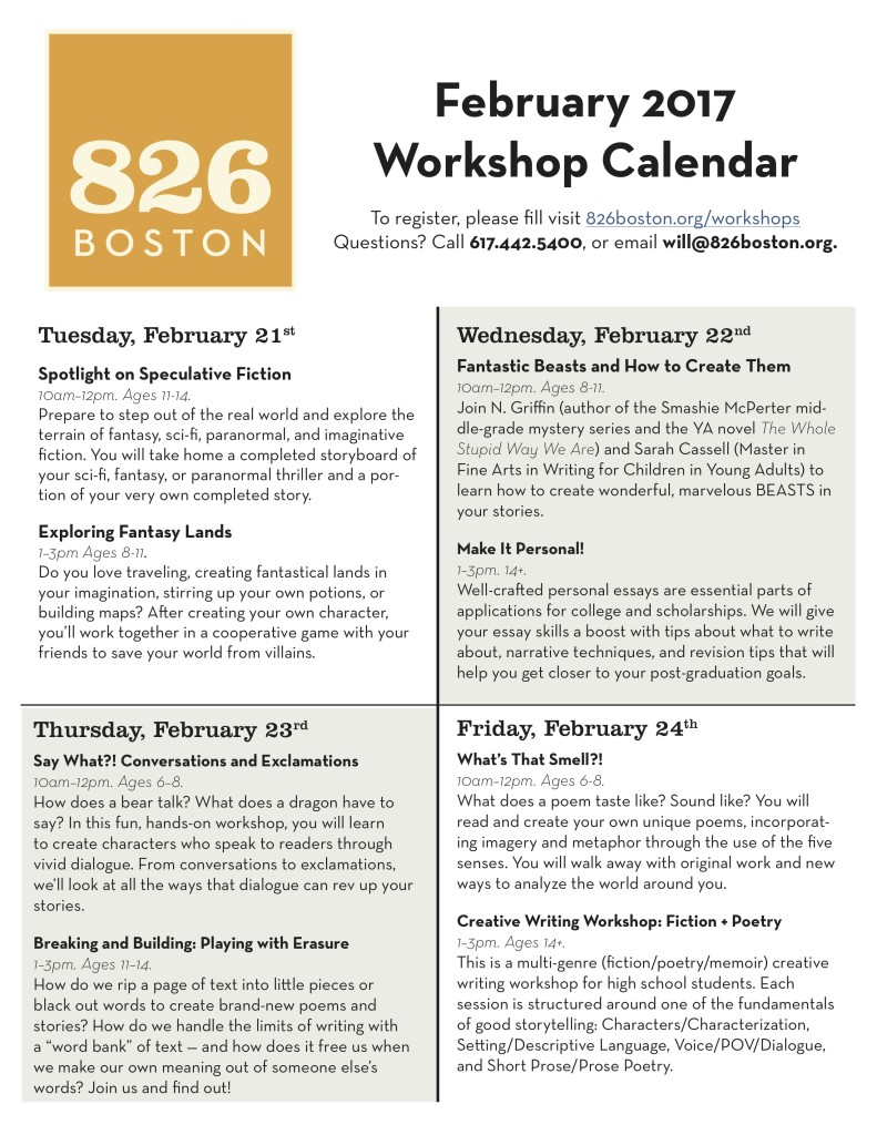 826 Boston | February Workshops