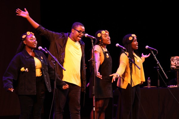 The 826 Boston Slam Poetry Team performing during the LTABMA 2018 Finals. Photo courtesy of Lauren Miller.