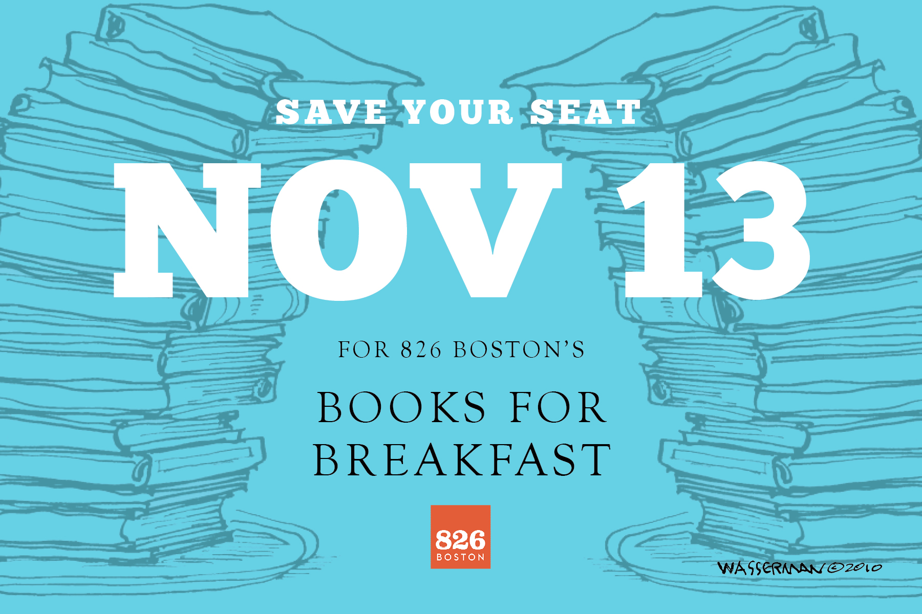 Save your seat for 826 Boston Books For Breakfast on Nov. 13