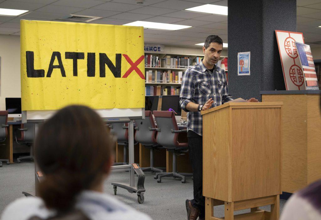 Cuban writer Dariel Suarez speaks to students during a LatinX Heritage Month celebration.