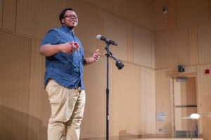826 Boston student Tariq performs his poetry at the Boston Public Library.